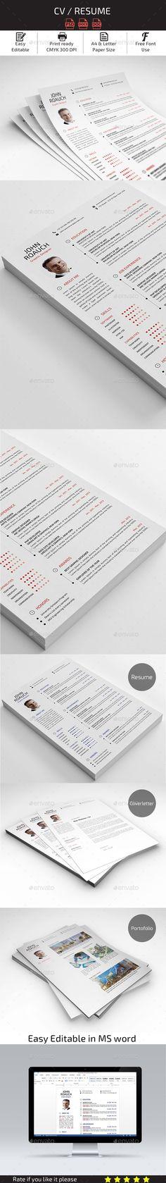 CV Resume Template #design Download: http://graphicriver.net/item/cv-resume/13568816?ref=ksioks