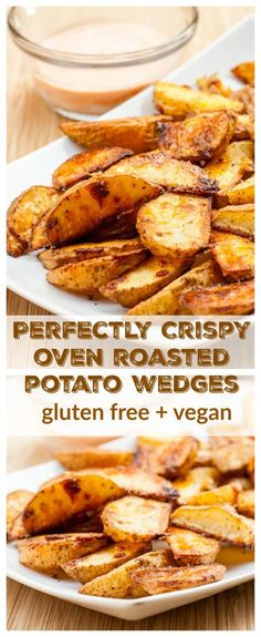 The secret to perfectly crispy oven roasted potato wedges every time. You'll never crave deep fried french fries after you try these gluten-free + vegan oven roasted potato wedges.