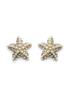 Crystal Pearl Starfish Earrings