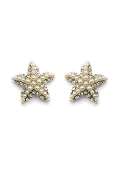 Crystal Pearl Beads Starfish Earrings - Accessory - Retro, Indie and Unique Fashion