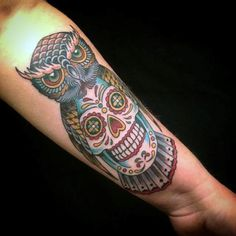 155 Sugar Skull Tattoo Designs with Meaning - Wild Tattoo Art - 155 Sugar Skull Tattoo Designs with Meaning – Wild Tattoo Art - Owl Skull Tattoos, Mexican Skull Tattoos, Leg Tattoos, Body Art Tattoos, Tattoos For Guys, Sleeve Tattoos, Tattoos For Women, Future Tattoos, Tattos