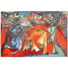 For Sale on - Vintage Pablo Picasso rug by Ege Art Rug, Scandinavia, century. Size: 6 ft 8 in x 4 ft 7 in m x m) Here is a truly magnificent vintage Pablo Picasso, Picasso Art, Running Of The Bulls, Composition Design, Cubism, Wool Area Rugs, Art World, Abstract Art, Abstract Paintings
