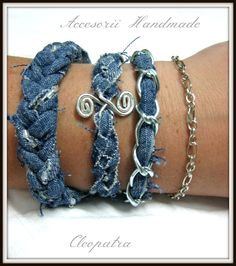 Handmade denim bracelets set.