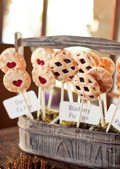 Pie Pops! Cute idea for a wedding reception, bridal shower or party. Wedding Food Bars, Wedding Desserts, Mini Desserts, Wedding Menu, Dessert Recipes, Wedding Reception, Reception Food, Wedding Favors, Chic Wedding