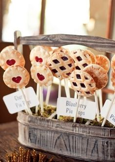 Pie Pops! Cute idea for a wedding reception, bridal shower or party.