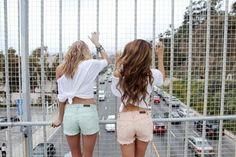 high waisted pastel shorts