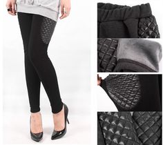 FUR FLEECE LEGGINGS Leather Patch Black Charcoal Mink Winter Stretch Pants #Unbranded
