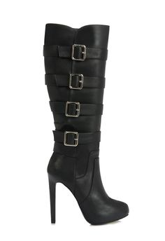 This sky-high, buckled boot is must-have for rocker chic style.