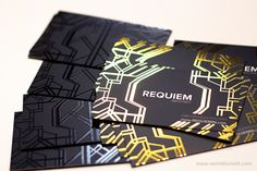 Unique gold foil business cards with silk coating, foil stamping and spot uv gloss over black. Printed by: http://vermillionsilkcards.com