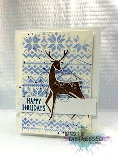 The Damsel of Distressed Cards: Guest Designing at Cardz 4 Guyz - Winter Fun Card Create Christmas Cards, Christmas Card Crafts, Xmas Cards, Holiday Cards, Nordic Christmas, Christmas Deer, Handmade Christmas, Christmas Holiday, Winter Karten