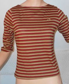 Hang Ten 10 Boat Neck Striped Pullover Vintage T Shirt Ladies Size Medium   4239 #HangTen