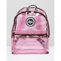 Hype Transparent Backpack With Check (€34) ❤ liked on Polyvore featuring bags, backpacks, pink, hype backpack, see through backpack, sheer bags, rucksack bags and hype bags