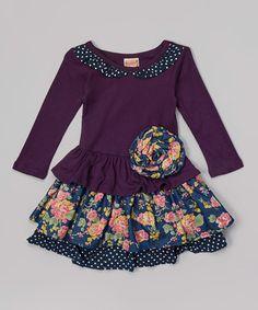 Look at this #zulilyfind! Purple & Navy Floral Ruffle Dress - Toddler & Girls #zulilyfinds