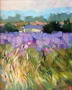 Tall Grass & Lavender by Trisha Adams, Oil, 20 x 16 Watercolor Landscape Paintings, Impressionist Landscape, Landscape Drawings, Landscape Art, Modern Oil Painting, Impressionist Paintings, Watercolor Artists, Oil Paintings, Watercolor Painting