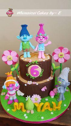 Trolls birthday cake Fondant trolls figurines Poppy, Branch, Fuzzbert, DJ Suki and Guy Diamond