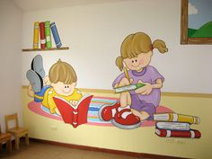 Murales en Colegios: Biblioteca para niños Preschool Layout, Preschool Decor, Classroom Setting, Classroom Decor, School Library Design, Kids Reading Books, Kindergarten Design, School Cartoon, School Murals