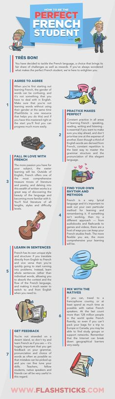 Educational infographic & data visualisation How to be the perfect French student Infographic Description Learning French is far from easy. Study French, Core French, French Language Learning, Learn A New Language, Language Classes, German Language, Japanese Language, Spanish Language, Sign Language