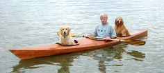 """""""It's like a triple kayak, only there isn't enough room for the paddlers to put their feet—but it's perfect for a dog."""""""