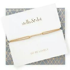 """Stella & Dot Pave Wishing Bracelet Brand new. Gold Pave Wishing Bracelet.   Stella & Dot favorite wishing bracelet dressed up in pav? sparkle! Sliding knot closure for adjustable length. Comes in specialty packaging with self-envelope, makes a great gift!  Adjustable 6""""-9"""".   Fits SM-LG wrists. Stella & Dot Jewelry Bracelets"""