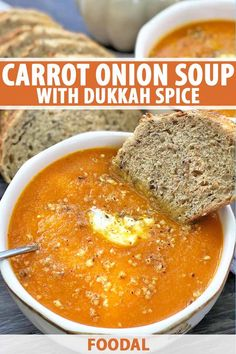 You've never had soup like this before. Buttery, slightly sweet roasted carrot onion soup gets a serious kick of flavor, thanks to a sprinkle of homemade dukkah spice on top. It's sure to warm you up from the inside out! Read more now to add this recipe to your collection of cozy favorites. #carrotsoup #dukkah #foodal