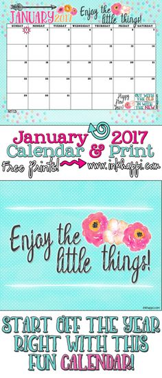 Free Printables! Start of the year with this January 2017 Calendar and print!