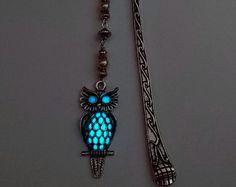 Owl Bookmark - Aqua Glow In The Dark Bookmark - Glowing Bookmark
