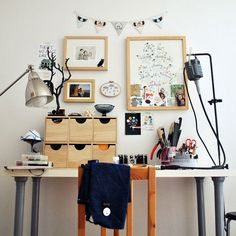 The Angry Weather-work space. I love her work and look forward to her blog. Too cute.