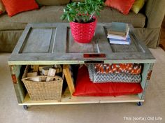 Coffee Table - salvaged door is repurposed into a coffee table - step by step tutorial with lots of pics.