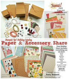 """Get a great selection of """"gotta have it"""" products from the new Stampin' Up! Holiday catalog for a fraction of the cost of buying full packages!  Join a Product Share now! www.PattyStamps.com #stampinup #holidaycatalog #productshare #dsp"""