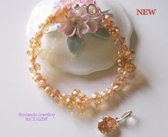 Jewellery Set, Waterpearl Bracelet with Sterling Silver Clasp, Champagne £25.00