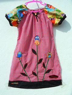 Eulen Kleid Love verspielte Eule Owl Einschulung Gr.128 Patch bestickt