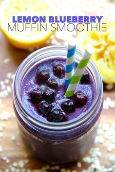 Lemon Blueberry Muffin Smoothie -- cool creamy and comforting thanks to the addition of a special ingredient! Raspberry Smoothie, Apple Smoothies, Easy Smoothies, Smoothie Recipes, Vegan Smoothies, Lemon Blueberry Muffins, Blue Berry Muffins, Blueberry Recipes, Healthy Food Blogs