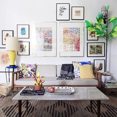 The paper ficus and owl!!!  A Home Full of Creativity and DIY Design |Design*Sponge