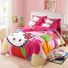 Hello kitty Bedding Set 4pcs include Duvet Cover Bed Sheet Pillowcase Children Kids Comforter Bedding Sets housse de couette