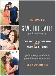Signature White Photo Save the Date Cards Photo Booth Shoot - Front : Orange Sherbet