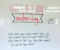 What's in a name Wednesday // morning message