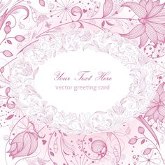 FLORAL GREETING CARD PINK VECTOR