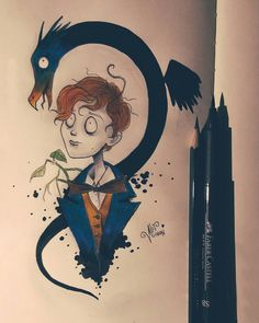 "Alef Vernon on Instagram: ""July 7 - Newt Scamander from Fantastic Beasts ✨💙💛 • #harrypotter20years #harrypotter #31julydaysofmagic #fantasticbeasts #hufflepuff"" Harry Potter Book Covers, Harry Potter Tumblr, Harry Potter Gifts, Harry Potter Characters, Harry Potter Fandom, Harry Potter Memes, Tim Burton Drawings, Harry Potter Painting, Fantastic Beasts"