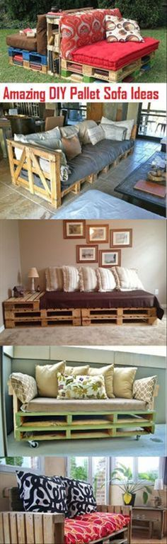This Crafty Post details some Amazing DIY Pallet Sofa Plans And Ideas for the home.Pallet sofa are not too difficult to make and In fact, you can make anything from these if you just use your creative juices. Diy Pallet Sofa, Pallet Headboards, Pallet Benches, Pallet Tables, Pallett Couch, Dyi Couch, Pallet Furniture Outdoor Couch, Pallet Couch Outdoor, Pallet Daybed