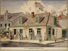 Jean Lafitte's Blacksmith Shop, 941 Bourbon Street, New Orleans :: Painting in Louisiana from the Historic New Orleans Collection Loyola New Orleans, Lafitte's Blacksmith Shop, Jean Lafitte, New Orleans Architecture, New Orleans History, French Creole, Louisiana Art, Louisiana Purchase, New Orleans French Quarter