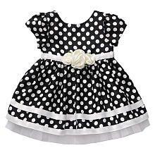 "Youngland Girls Printed Polka Dot Shantung Dressy Dress - Black/Ivory - Kahn Lucas  - Babies""R""Us"