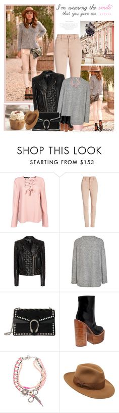 """""""cool girl in jacket leather"""" by lovemeforthelife-myriam ❤ liked on Polyvore featuring Rochas, AG Adriano Goldschmied, Balmain, Gucci, Jeffrey Campbell, REMINISCENCE and Borsalino"""