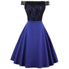 Dark Blue Off Shoulder Hollow Lace Crochet Vintage A Line Dress