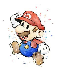 Mario Portrait Watercolor Art Print Geek por OlechkaDesign en Etsy
