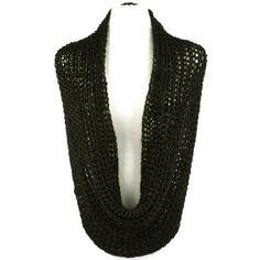 Ladies Winter Chunky Weave Wide Knit Chain Circle Loop Eternity Snow Scarf Black
