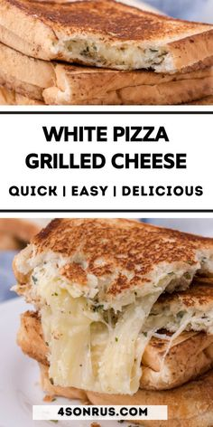 If you've ever wanted a sandwich that oozes comfort, this white pizza grilled cheese is it. All the flavors from a blend of Italian cheeses and herbs, sandwiches in between a crispy buttered crust that's perfectly snackable for the whole family.