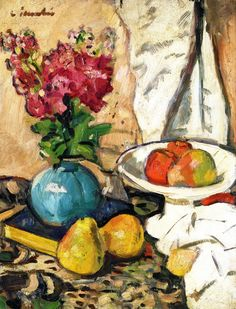 The Athenaeum - Still Life with Fruit and Flowers in a Green Vase (George Leslie Hunter - )