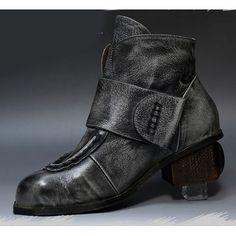 Women Gray Leather High Heel Retro Vintage Gothic Dress Chelsea Boots SKU-11405722