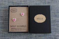 "Cute pink glazed porcelain mini heart earrings ""SWEET NOTHINGS"" by TenaciousBloom on Etsy"