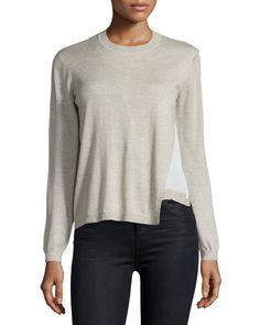 Layered Crewneck Sweater, Oatmeal - Yigal Azrouel